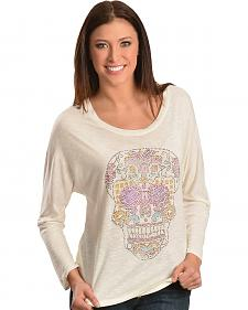 Wrangler Rock 47 Metallic Rhinestone Skull Top