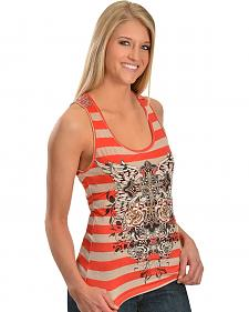 Red Ranch Coral & Tan Striped Key Hole Back Tank Top