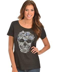 Wrangler Rock 47 Floral Skull Short Sleeve Tee