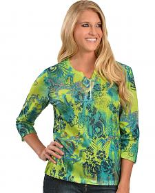 Embellished Fancy Green Print Top