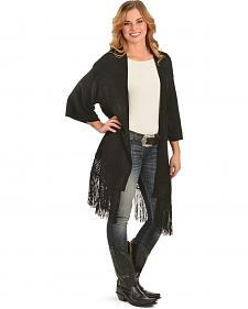 Red Ranch Women's Black Fringe Cardigan