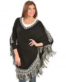 Scully Black and White Fringed Poncho