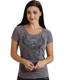 Roper Women's Gray Sugar Skull Tee