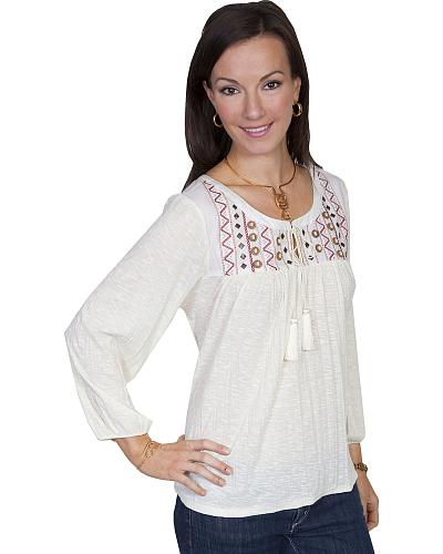 Scully Womens Crush Knit Embroidered Peasant Blouse Western & Country HC139-CRM