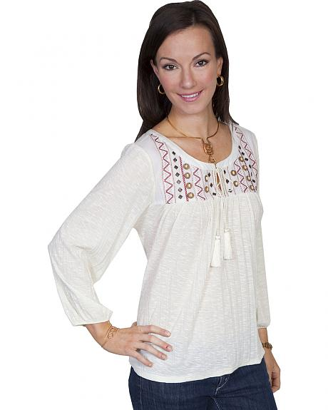 Scully Women's Crush Knit Embroidered Peasant Blouse