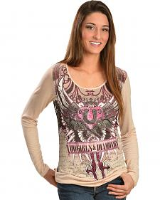 Cowgirls & Diamonds Screen Print Lace Back Shirt