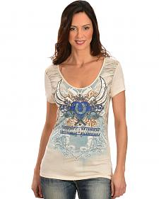 Cowgirls & Diamonds Women's Screen Print Lace Back Shirt