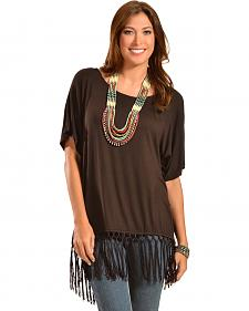 Wrangler Rock 47 Women's Short Sleeve Fringe Top