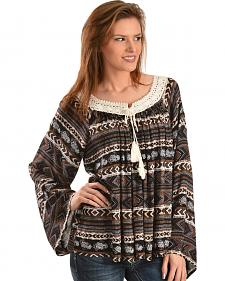 Wrangler Women's Printed Crochet Trim Peasant Top