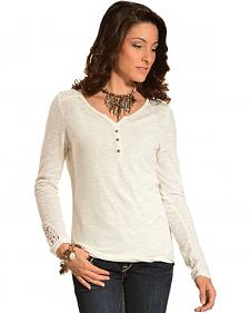 Ariat Women's Kate Crochet Overlay Henley Top