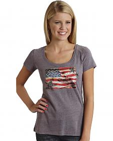 Roper Dirt Road American Flag Print T-Shirt