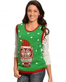 Lisa International Christmas Owl Light Up Sweater Vest