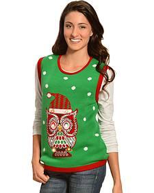 Lisa International Christmas Owl Light Up Sweater Vest