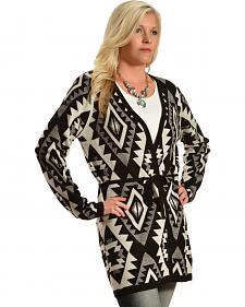 Pink Cattlelac Black Aztec Print Long Cardigan