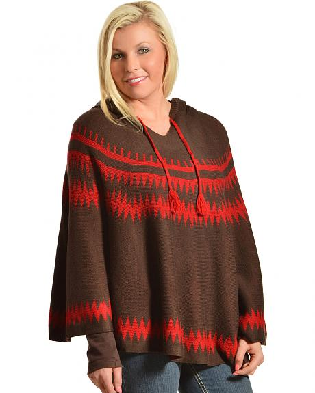 Pink Cattlelac Women's Hooded Sweater Poncho