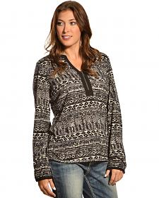 Red Ranch Women's Split Collar Tribal Print Top