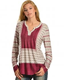Red Ranch Women's Mixed Media Printed Plum Blouse