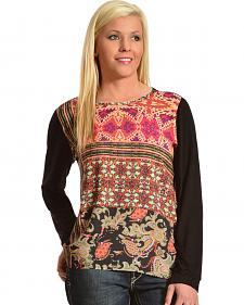 Red Ranch Women's Print & Black Chiffon Long Sleeve Top