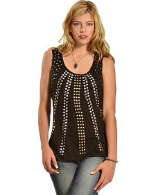 Wrangler Rock 47 Women's Racerback Studded Sequin Sleeveless Top