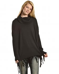 Black Swan Women's Sofia Fringe Trim Cowl Neck Tunic Sweater