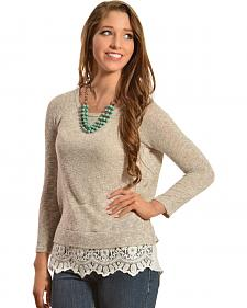 Moa Moa Women's Lace Trim Sweater