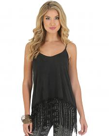 Wrangler Rock 47 Women's Faux Knit Suede Tank with Fringe