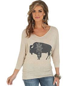 Wrangler Wrangler 3/4-Sleeve Tunic with Bison Graphic