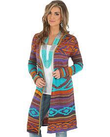 Wrangler Women's Jacquard Sweater Duster with Hood