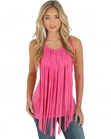 Wrangler Rock 47 Women's Pink Wide Fringe Top