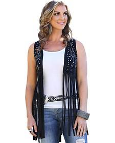 Wrangler Rock 47 Women's Faux Suede Studded Fringe Vest