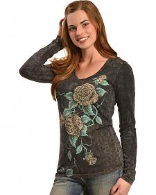 Liberty Wear Women's Grey Wash Rose Only Long Sleeve Top