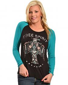 Liberty Wear Women's Free Spirit Tribal Raglan Sleeve Top