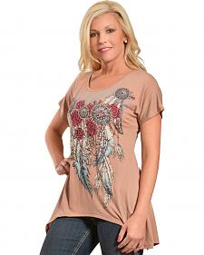 Liberty Wear Women's Mocha Concho and Feathers Sharktail Top