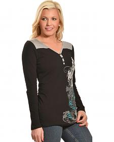 Liberty Wear Women's Crossing Over Henley Top
