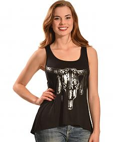 Liberty Wear Women's Black Foil Skull Tank Top