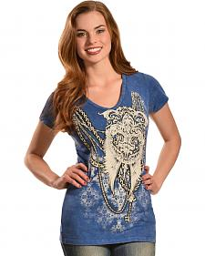 Liberty Wear Women's Denim Wash Wings and Chain T-Shirt