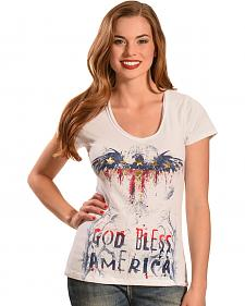 Liberty Wear Women's White God Bless America Top