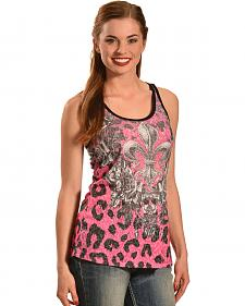 Liberty Wear Women's Leopard Fleur de Lis Tank Top