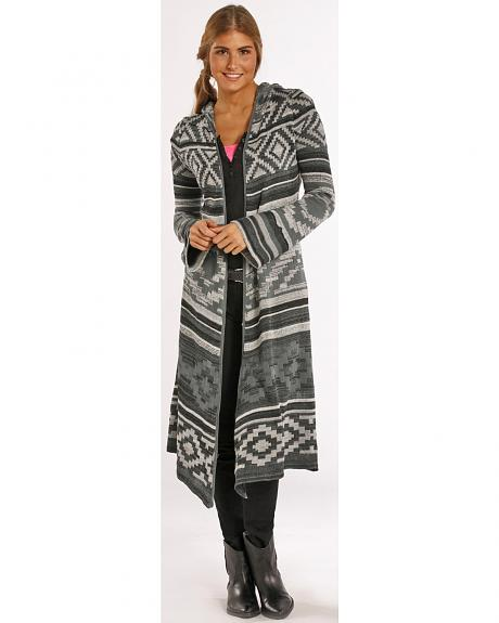 Panhandle Slim Women's Grey Aztec Hooded Duster