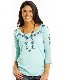 Panhandle Slim Women's Ocean Blue Embroidered Henley Top