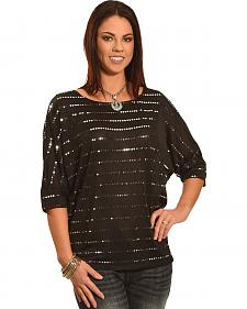 Wrangler Rock 47 Women's Chevron Sequin Dolman Top