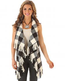 Wrangler Rock 47 Women's Buffalo Check Fringe Vest