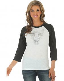 Wrangler Women's Metallic Steerhead Baseball Tee