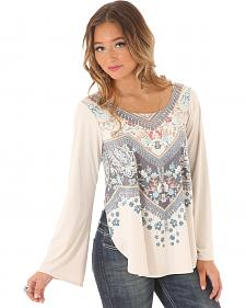 Wrangler Women's Bell Sleeve Printed Top