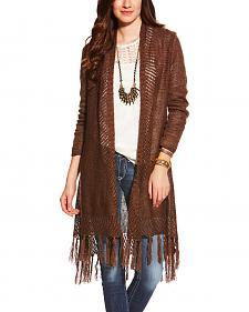 Ariat Women's Dark Chocolate Fringe Cardigan