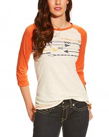 Ariat Women's White Arrow Graphic 3/4 Sleeve Baseball Top