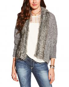 Ariat Women's Grey Fur Trim Cardigan Sweater