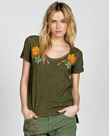Miss Me Vintage Olive Knit Floral Short Sleeve Shirt
