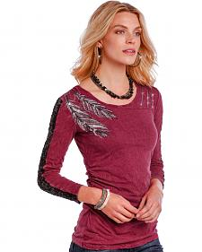 Panhandle Women's Red Metallic Feather Long Sleeve T-Shirt