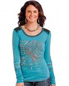Panhandle Women's Turquoise Sun Chief Long Sleeve T-Shirt